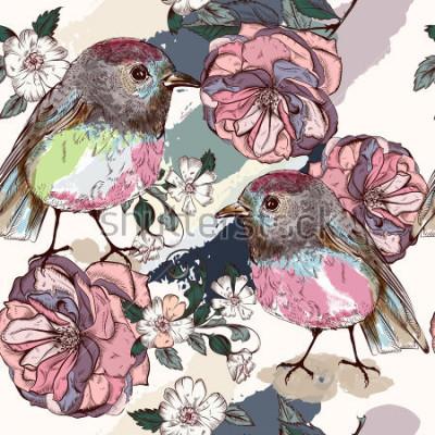 Fototapete Schönes botanisches Muster im Vintage-Stil mit Vögeln und Rosen