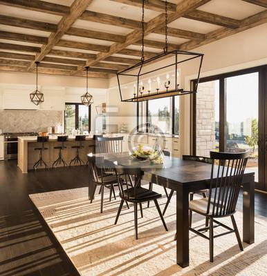 Attraktiv Fototapete Schönes Esszimmer Und Küche Im Neuen Luxushaus Bei  Sonnenaufgang. Features Cross Hatch Strahlen Auf