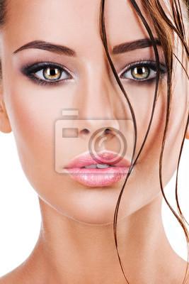 Fototapete Schönes Gesicht Einer Frau Mit Dunkelbraunem Augen Make Up