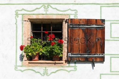 Fototapete Schönes Landhausfenster mit Blumen