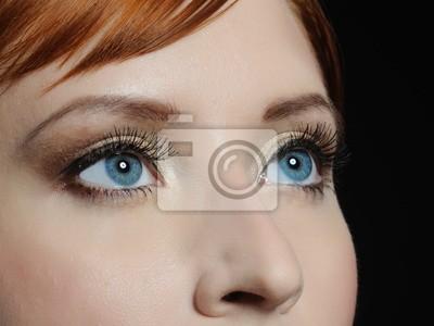 Schönes Makro Schuss Des Blauen Augen Mit Langen Wimpern Und