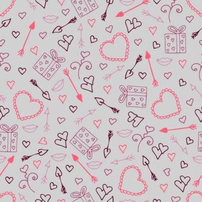 Fototapete Schönes nahtloses Muster mit Herzen, Pfeile für Liebhaber.