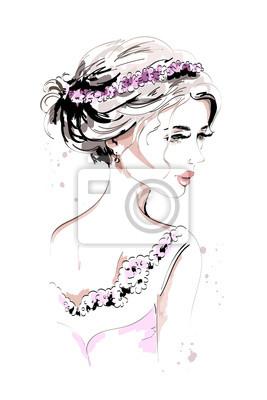 Schönes Portrait Der Jungen Frau Modefrau Handgezeichnete Süße