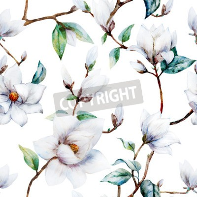 Fototapete Schönes Rastermuster mit schönen Aquarell-Magnolienblumen