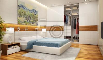 Schönes schlafzimmer und moderner kleiderschrank fototapete ...