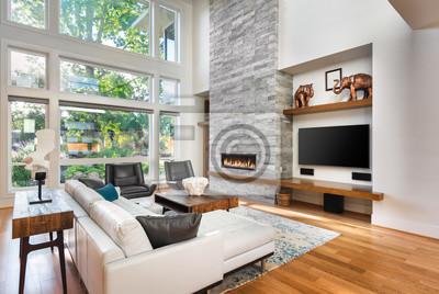 Fototapete: Schönes wohnzimmer mit parkettboden und kamin in neuem  luxushaus.
