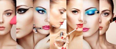 Fototapete Schönheit Collage. Gesichter der Frauen. Art und Weisefoto. Make-up-Künstler gilt Lippenstift und Lidschatten. Frau Anwendung Parfüm