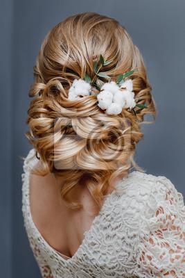 Fototapete Schonheit Hochzeit Frisur Mit Baumwolle Blume Ruckansicht Verziert