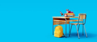 Fototapete School desk with school accessory and yellow backpack on blue background 3D Rendering, 3D Illustration