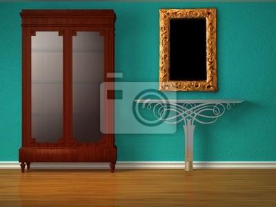 Schrank mit metallischen tisch und spiegel in minimalistische