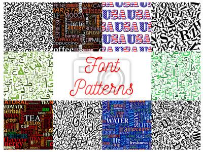 Schriftart nahtlose Muster Hintergrund Set mit Buchstaben, Zahlen, arabische Kalligraphie Zeichen, gotische römische Großbuchstaben, Kaffee, Tee und Wasser Wort Wolken