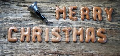 Schriftzug Frohe Weihnachten Beleuchtet.Fototapete Schriftzug Frohe Weihnachten Weihnachten Auf Altem Treibholz
