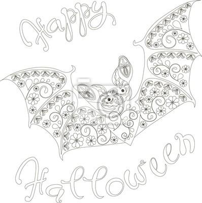 Fototapete Schriftzug Happy Halloween Floral Fledermaus Malvorlage Anti Stress