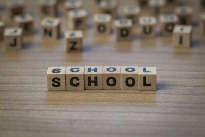 Schule geschrieben in Holzwürfel