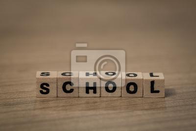 Schule in Holzwürfel