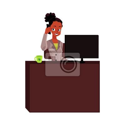 Schwarz Afroamerikanergeschäftsfrau Sekretär Der Telefonisch