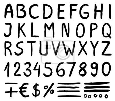 Schwarz Aquarell Alphabet Buchstaben mit Zahlen, Symbole