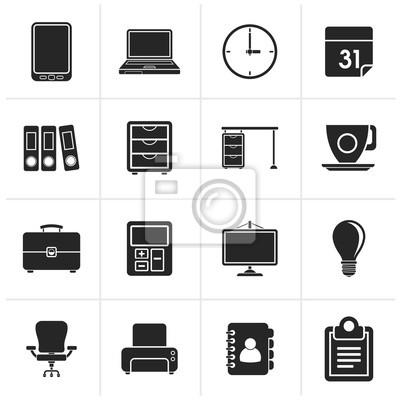Schwarz Business Und Buro Icons Vektor Icon Set Fototapete
