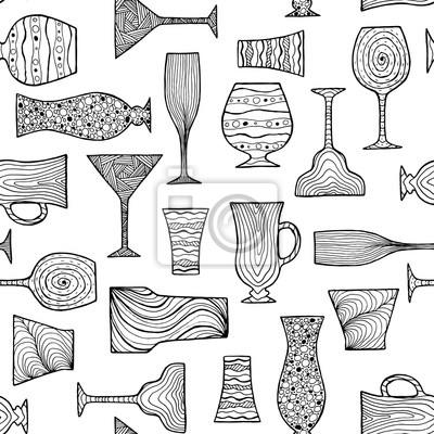 Schwarz doodle nahtlose muster mit verschiedenen bar gläser ...
