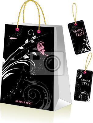 Schwarz Einkaufstasche und Etiketten