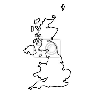 Großbritannien Karte Umriss.Fototapete Schwarz Kontur Karte Von Großbritannien
