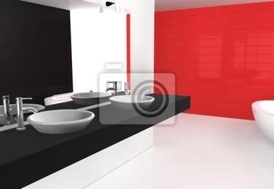 Schwarz rot badezimmer fototapete • fototapeten Bäder, Waschbecken ...