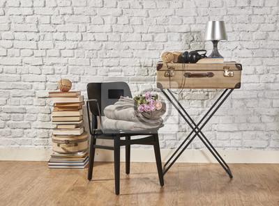 Schwarz Stuhl Gepäck Und Buch Dekoration Fototapete Fototapeten