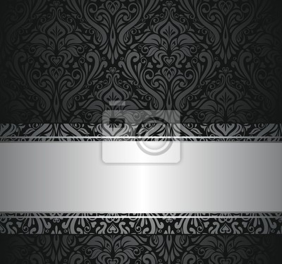 Schwarz Und Silber Vintage Tapete Fototapete Fototapeten Bijou