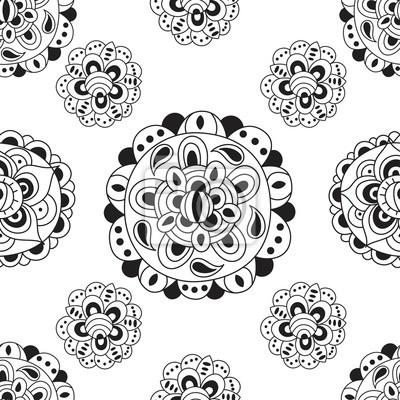 Schwarz und weiß abstrakte nahtlose Muster. Ornament Vektor Textur ideal für Verpackung, Druck, Stoff Papier und Muster füllt