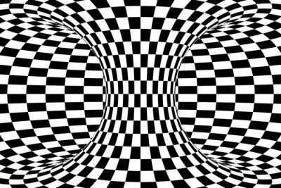 Fototapete Schwarz und Weiß Checkered Torus Zusammenfassung Hintergrund