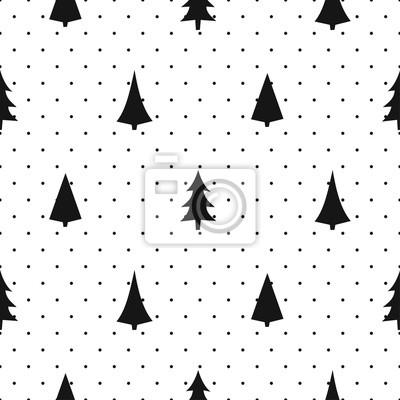 Fototapete Schwarz und weiß einfache nahtlose Weihnachten Muster - abwechslungsreiche Weihnachtsbäume. Frohes Neues Jahr Polkapunkte Hintergrund. Vector Design für Textil-, Tapeten-, Stoff-, Verpackungspapier.