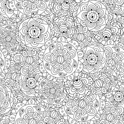Schwarz und weiß floral nahtlose muster. runde ...