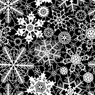 Schwarz und weiß häkeln schneeflocken nahtlose muster, stock-vektor ...
