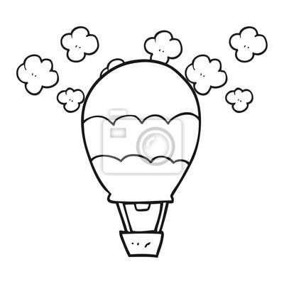 Schwarz und weiß karikatur heißluftballon fototapete • fototapeten ...