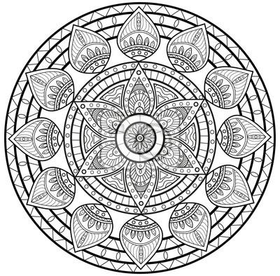 Schwarz Und Weiß Mandala Vektor Für Färbung Mandala In Bianco