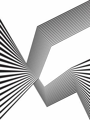 Fototapete Schwarz und weiß mobious Welle Streifen optischen abstrakten Design