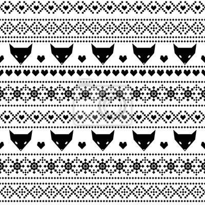 Fototapete Schwarz und weiß nahtlose Muster mit Fuchs für Kinder Urlaub. Skandinavischen Pullover-Stil. Weihnachtsdekorationen. Netter Hintergrund für Winterferien. Weihnachten traditionellen ornamentalen Muster