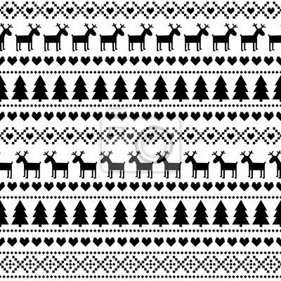 Fototapete Schwarz und weiß nahtlose Weihnachten Muster, Karte - skandinavischen Pullover Stil. Nette Weihnachten Hintergrund - Weihnachtsbäume, Hirsche, Herzen und Schneeflocken. Happy New Year Hintergrund.