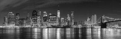 Fototapete Schwarz und weiß New York City bei Nacht Panorama-Bild, USA.