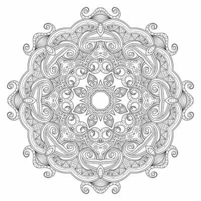 Fototapete Schwarz-Weiß-abstrakte kreisförmige ethnische Muster Mandala.