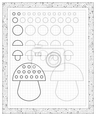 Schwarz-weiß-arbeitsblatt auf einem quadratischen papier mit ...