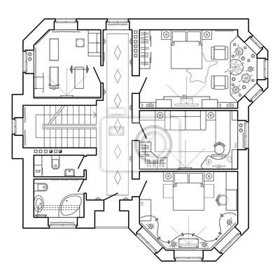 schwarz wei architektonischen plan eines hauses layout der fototapete fototapeten privies. Black Bedroom Furniture Sets. Home Design Ideas