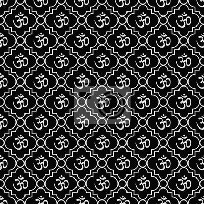 Fototapete Schwarz Weiß Aum Hindu Symbol Fliesen Muster Wiederholen Hintergrund