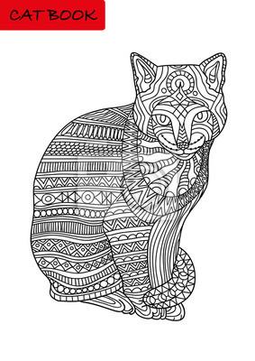 Fototapete Schwarz Weiß Ausmalbild Für Erwachsene Colorized Katze Mit Mustern