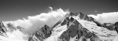 Fototapete Schwarz-Weiß-Bergpanorama in den Wolken