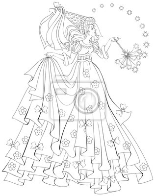 Schwarz-weiß-darstellung der schönen fee halten zauberstab zum ...