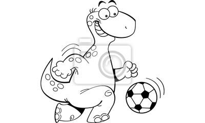Schwarz Weiss Darstellung Eines Dinosauriers Fussball Spielen