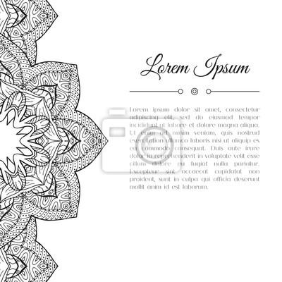 Fototapete Schwarz Weiß Hand Gezeichnet Doodle Grenze. Abstract Floral  Mandala Zentangle Hintergrund.