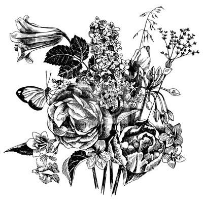 Schwarz Weiß Hand Gezeichnet Garten Blumen Fototapete Fototapeten