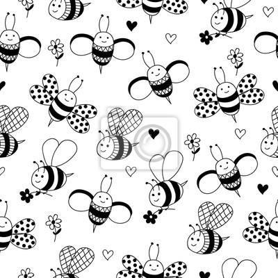 schwarz wei hintergrund mit hadn gezeichnet bienen und blumen fototapete fototapeten nubes. Black Bedroom Furniture Sets. Home Design Ideas
